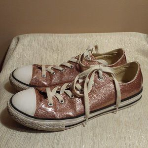 Converse Ice Pink Coated Glittered Sneakers Size 6